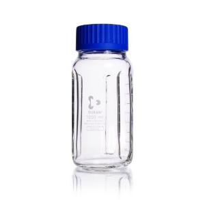 Bottles, wide neck, clear, with GLS 80® thread and baffles