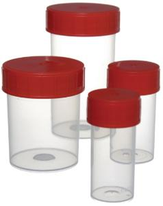 Straight sample containers, with screw cap